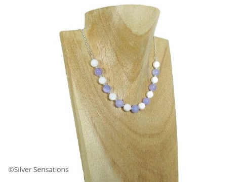 Purple Jade, White Agate & Sterling Silver Chain Necklace